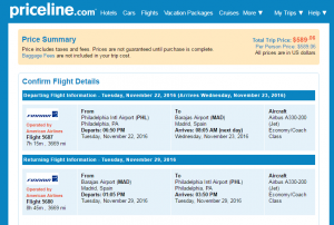 Philly to Madrid: Priceline Booking Page