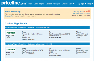 SF to Phoenix: Priceline Booking Page