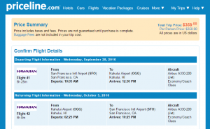 SF to Maui: Priceline Booking Page