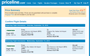 Phoenix to SF: Priceline Booking Page