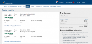 D.C. to Orlando: Travelocity Booking Page