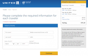 Chicago to NYC: United Booking Page