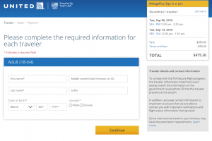 Seattle to Beijing: United Booking Page