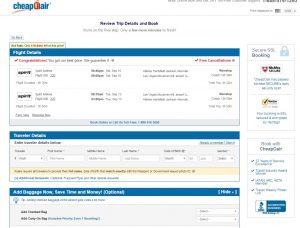 Atlanta to Las Vegas: CheapOair Booking Page