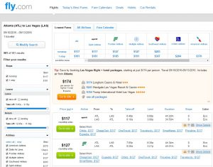 Atlanta to Las Vegas: Fly.com Results