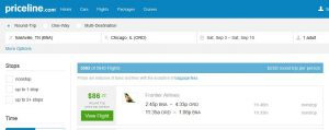 BNA-CHI: Priceline Booking Page ($87)