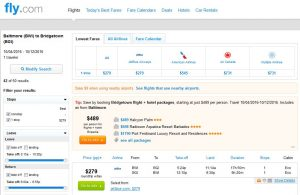 BWI-BGI: Fly.com Search Results