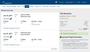 Boston to Oslo: Travelocity Booking Page