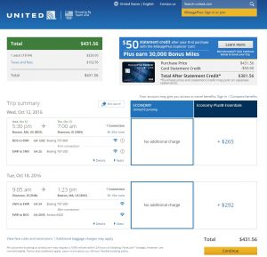 Boston to Shannon: United Booking Page