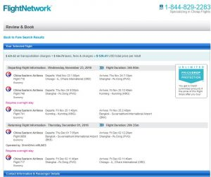 CHI-BKK: Flight Network Booking Page ($531)