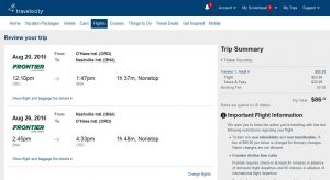 CHI-BNA: Travelocity Booking Page