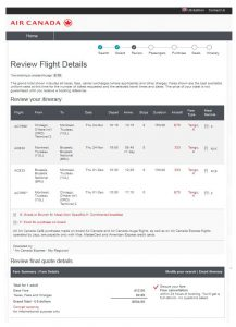 CHI-BRU: Air Canada Booking Page