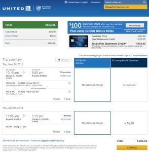 CHI-BRU: United Airlines Booking Page