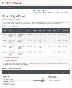 CHI-DXB: Air Canada Booking Page