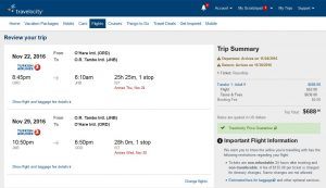 CHI-JNB: Travelocity Booking Page