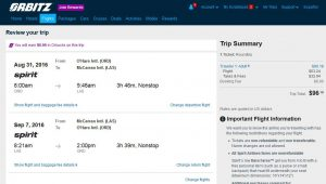 CHI-LAS: Orbitz Booking Page