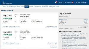 CHI-MIA: Travelocity Booking Page