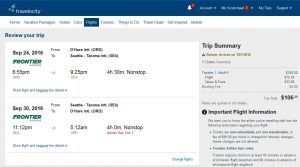 CHI-SEA: Travelocity Booking Page