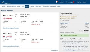 CHI-SIN: Travelocity Booking Page