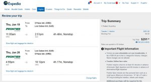 CHI-SJD: Expedia Booking Page