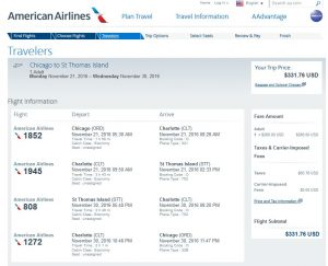 CHI-STT: American Airlines Booking Page ($332)