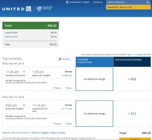 CLE-BOS: United Airlines Booking Page ($97)