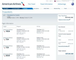 CLE-DUB: American Airlines Booking Page ($576)