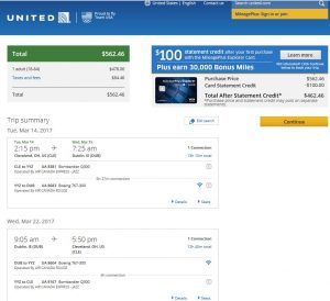 CLE-DUB: United Airlines Booking Page ($563)