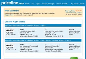 CLE-LAX: Priceline Booking Page