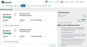 CLE-PHL: Expedia Booking Page