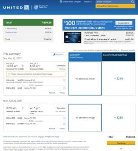 CLE-SNN: United Airlines Booking Page