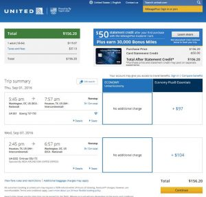 DCA-IAH: United Airlines Booking Page