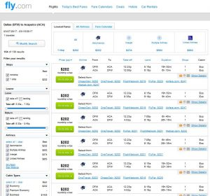 DFW-ACA: Fly.com Search Results