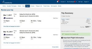 DFW-ACA: Travelocity Booking Page