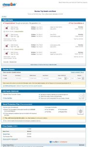 DFW-JNB: CheapOair Booking Page