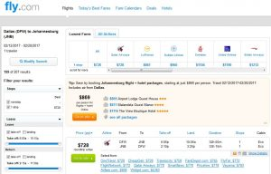 DFW-JNB: Fly.com Search Results