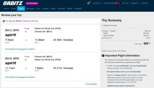 DFW-MCO: Orbitz Booking Page ($87)