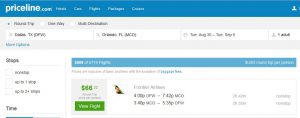 DFW-MCO: Priceline Booking Page ($67)