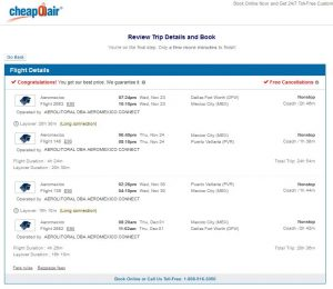 DFW-PVR: CheapOair Booking Page