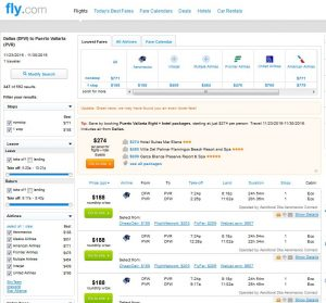 DFW-PVR: Fly.com Search Results