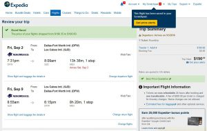 DFW-SJD: Expedia Booking Page