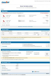DFW-SYD: CheapOair Booking Page