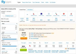 DFW-SYD: Fly.com Search Results