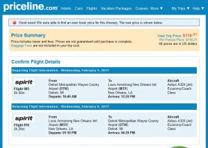 DTT-MSY: Priceline Booking Page ($117)