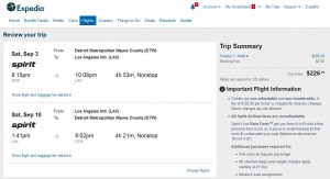 DTW-LAX: Expedia Booking Page