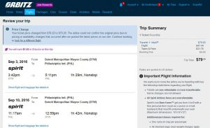 DTW-PHL: Orbitz Booking Page