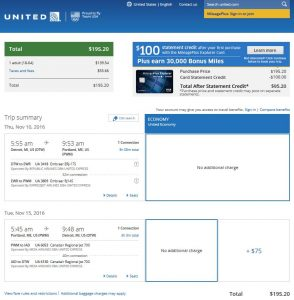 DTW-PWM: United Airlines Booking Page