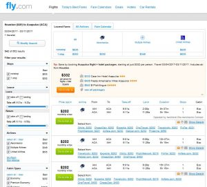 IAH-ACA: Fly.com Search Results