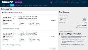 IAH-ACA: Orbitz Booking Page