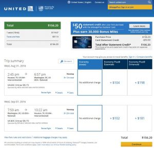 IAH-DCA: United Airlines Booking Page